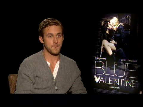 ryan gosling on derek's cianfrance's approach his patience in wating 12 years for the perfect conditions at the 'blue valentine' junket at new york ny - ryan gosling stock videos and b-roll footage
