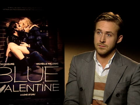 ryan gosling on the idea of the film and the story at the ryan gosling blue valentine interview at london england. - ryan gosling stock videos & royalty-free footage