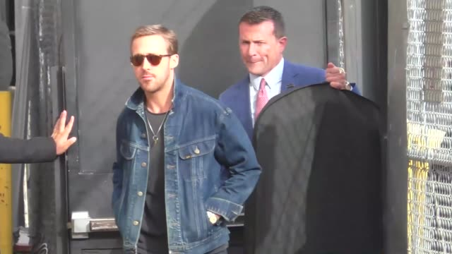 ryan gosling outside jimmy kimmel live in hollywood on october 05 2017 in los angeles california - ryan gosling stock videos and b-roll footage
