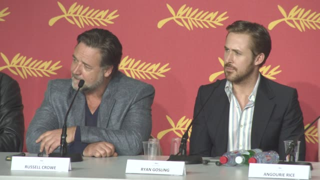INTERVIEW Ryan Gosling Russell Crowe on working together the chemistry is all done in post production at 'The Nice Guys' Press Conference at Palais...