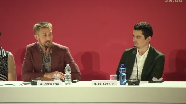 ryan gosling talks about being canadian and the film not being about patriotism but human endeavour at 'first man' press conference 75th venice... - ryan gosling stock videos and b-roll footage