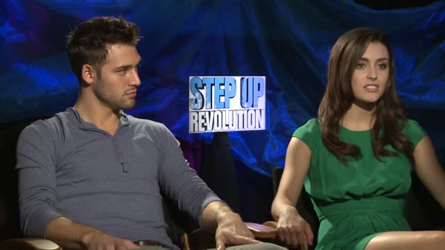 ryan guzman kathryn mccormick on being part of such a well loved franchise at the 'step up revolution' junket 07/20/12 - franchising stock-videos und b-roll-filmmaterial