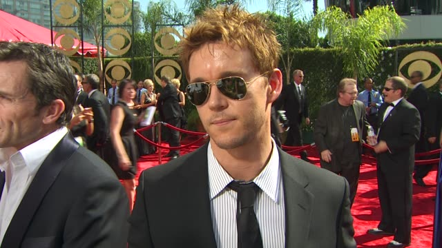 ryan kwanten on experiencing the emmys, who he's rooting for, the crew's nominations, who he's wearing. at the 61st annual primetime emmy awards -... - annual primetime emmy awards stock videos & royalty-free footage