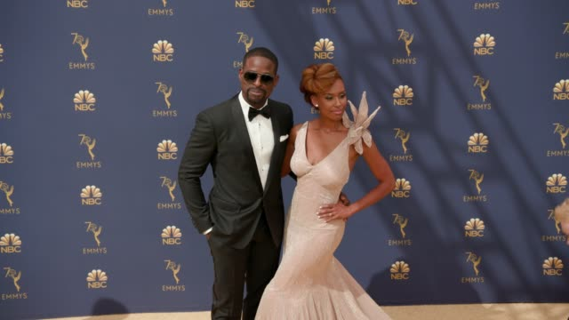 ryan michelle bathe and sterling k brown at the 70th emmy awards arrivals at microsoft theater on september 17 2018 in los angeles california - 70th annual primetime emmy awards stock videos and b-roll footage