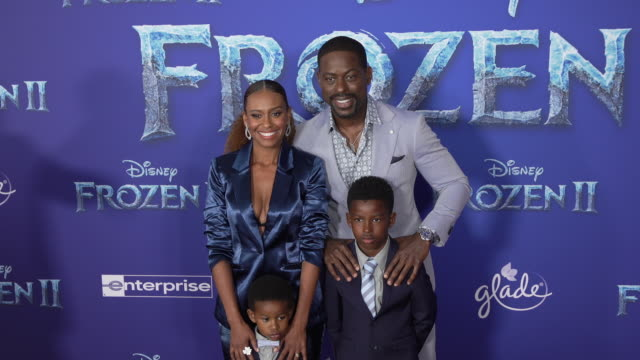 ryan michelle bathe and sterling k brown at the frozen ii world premiere at dolby theatre on november 07 2019 in hollywood california - frozen stock videos & royalty-free footage
