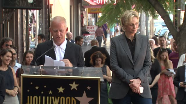 speech ryan murphy on knowing and working with jane lynch at jane lynch honored with star on the hollywood walk of fame speech ryan murphy on knowing... - jane lynch stock videos and b-roll footage