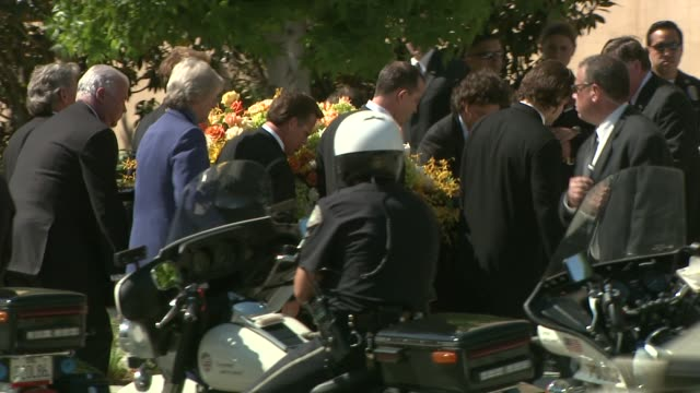 ryan o'neal and friends attend farrah fawcett's funeral at cathedral of our lady at the farrah fawcett funeral service at los angeles ca - farrah fawcett stock videos and b-roll footage