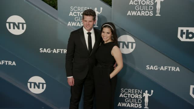ryan piers williams and america ferrera at the 26th annual screen actors guild awards - arrivals at the shrine auditorium on january 19, 2020 in los... - america ferrera stock videos & royalty-free footage