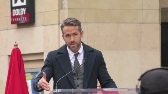 stockvideo's en b-roll-footage met ryan reynolds at ryan reynolds hollywood walk of fame star ceremony in celebrity sightings in los angeles - hollywood walk of fame