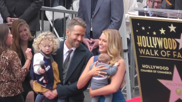 ryan reynolds blake lively at ryan reynolds hollywood walk of fame star ceremony in celebrity sightings in los angeles - ウォークオブフェーム点の映像素材/bロール