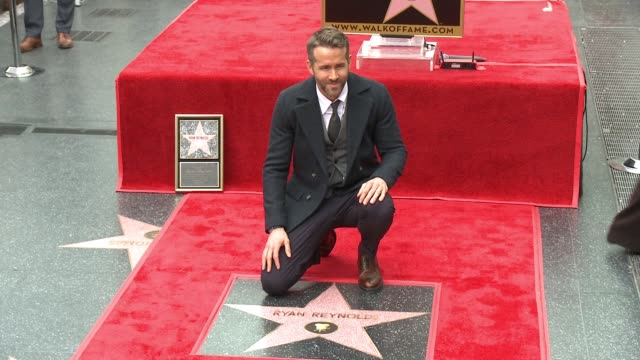 clean ryan reynolds honored with star on the hollywood walk of fame at hollywood walk of fame on december 15 2016 in hollywood california - ウォークオブフェーム点の映像素材/bロール