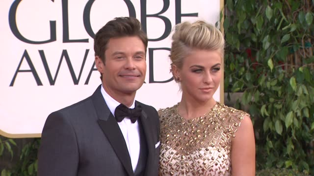 ryan seacrest and julianne hough at the 70th annual golden globe awards arrivals in beverly hills ca on 1/13/13 - ryan seacrest stock-videos und b-roll-filmmaterial