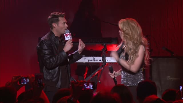 interview ryan seacrest and shakira at target presents the iheartradio album release party for shakira's exclusive deluxe edition in los angeles ca... - shakira stock videos & royalty-free footage