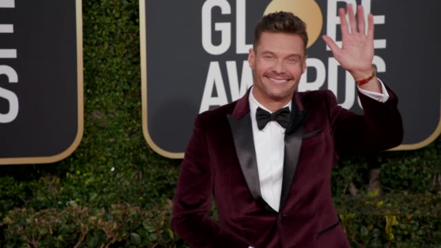 ryan seacrest at 76th annual golden globe awards arrivals in los angeles ca 1/6/19 4k footage - ryan seacrest stock-videos und b-roll-filmmaterial