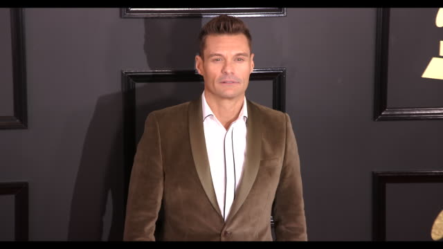 ryan seacrest at the 59th annual grammy awards arrivals at staples center on february 12 2017 in los angeles california 4k - ryan seacrest stock-videos und b-roll-filmmaterial