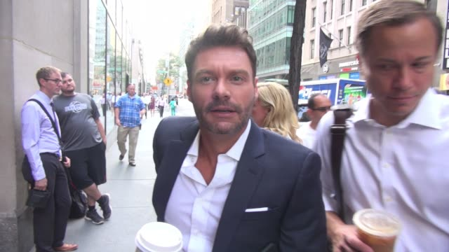 ryan seacrest at the 'today' show poses for photos with fans in celebrity sightings in new york - ryan seacrest stock-videos und b-roll-filmmaterial