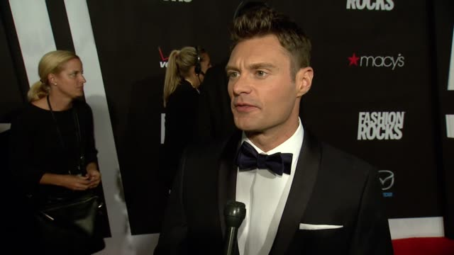 interview ryan seacrest is excited for the evening at fashion rocks 2014 at barclays center on september 09 2014 in new york city - ryan seacrest stock-videos und b-roll-filmmaterial