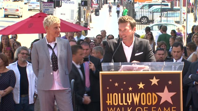 ryan seacrest on his friend ellen degeneres and on her caring nature for familly friends and fans at ellen degeneres honored with star on the... - ellen degeneres stock-videos und b-roll-filmmaterial