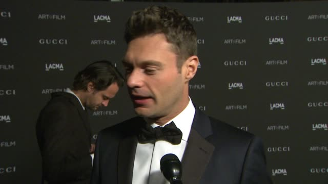 interivew ryan seacrest on what they love about lacma why it's important to celebrate and support art and film in la at 2014 lacma artfilm gala... - ryan seacrest stock-videos und b-roll-filmmaterial