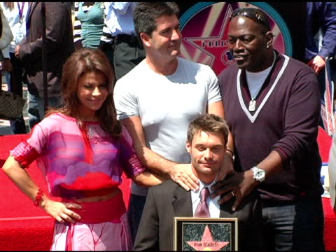 ryan seacrest paula abdul simon cowell and randy jackson at the dedication of ryan seacrest's star on the hollywood walk of fame at hollywood and... - ryan seacrest stock-videos und b-roll-filmmaterial