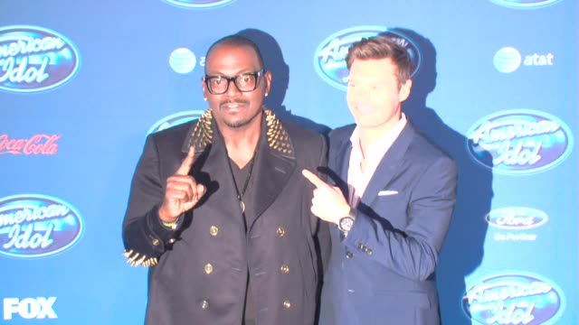 ryan seacrest randy jackson at american idol' season 12 premiere 1/9/2013 in westwood ca - ryan seacrest stock-videos und b-roll-filmmaterial