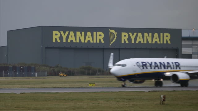a ryanair plane lands at stansted airport on october 20 2016 in london england ryanair has reduced its profit forecast following the drop in the... - ライアンエアー点の映像素材/bロール