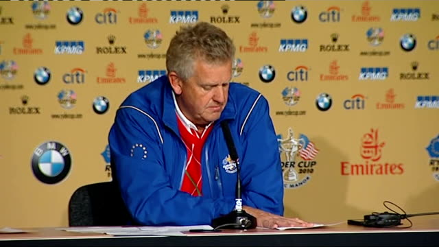day one / play disrupted by rain INT Colin Montgomerie press conference SOT Monday finishes are no good in any sport now at least we can finish this...