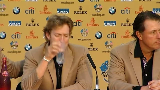 europe wins back trophy int hunter mahan press conference sot ext crowd of europe fans chanting sot reporter to camera graeme mcdowell interview sot... - mahan stock videos & royalty-free footage