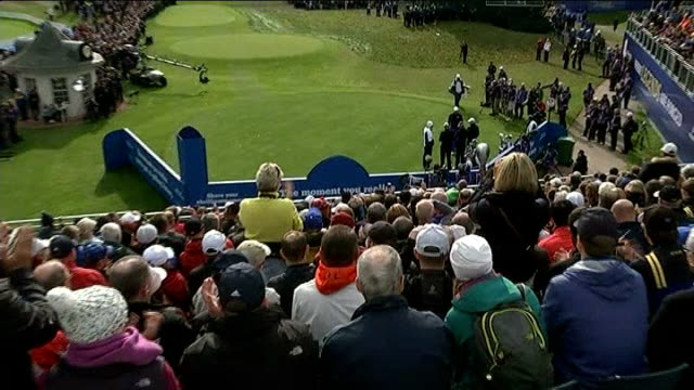 opening ceremony / final practice day crowd cheer unidentified golfer as he walks onto green at final practice day rory mcilroy talking with others... - pga event stock videos and b-roll footage