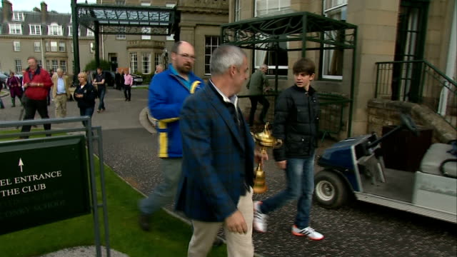paul mcginley photocall with ryder cup and interview scotland perthshire gleneagles ext sir alex ferguson outside hotel signing autograph / paul... - perthshire stock videos & royalty-free footage