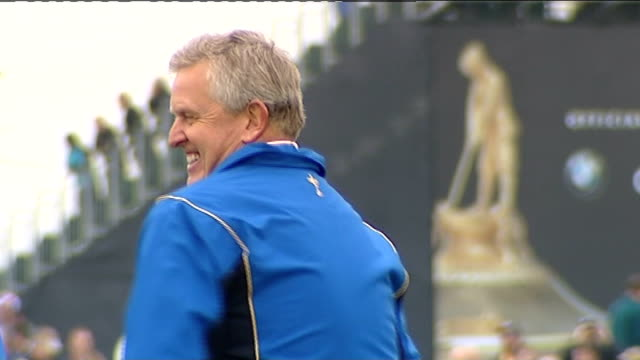 preview and welcome ceremony ryder cup golfers departing stage with their wives except for woods looking sad montgomerie laughing int colin... - pga event stock videos and b-roll footage