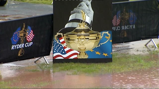ryder cup stands and image of trophy surrounded by muddy rainwater - pga event stock videos and b-roll footage