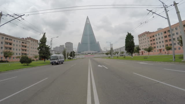 Ryugyong Hotel from street-level in Pyongyang, North Korea