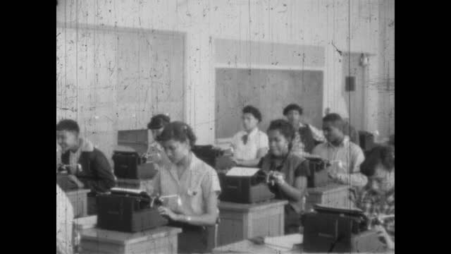 1940's - 1940's high school typing class, greenwood, tulsa, oklahoma, usa - african american culture stock videos & royalty-free footage