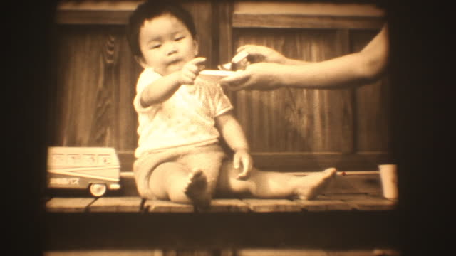 60's 8mm footage - Baby boy kids eating