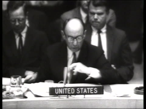 b/w 1960's adlai stevenson making speech at un / ambassador / sound - adlai stevenson ii stock videos and b-roll footage