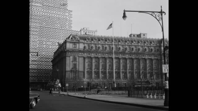 1950's - alexander hamilton us custom house, bowling green, new york city, new york state, usa, 1950's - hamilton new york state stock videos & royalty-free footage