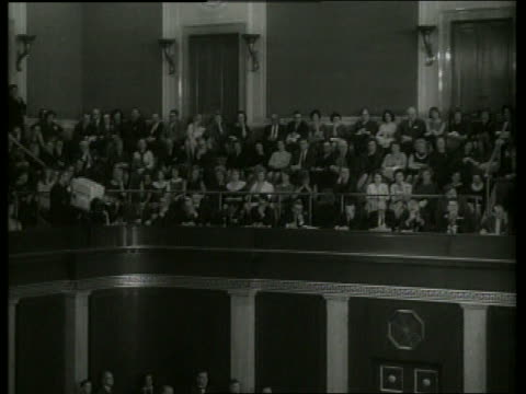 B/W 1960's audience in balcony watching Congress session / SOUND