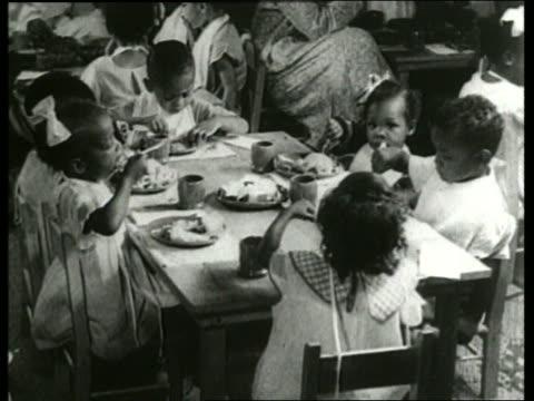 vidéos et rushes de b/w 1930's black children eating at table / nursery school / sound - cantine