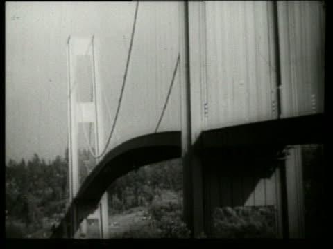 B/W 1940's bridge twisting swaying buckling in wind / Galloping Gertie / Tacoma Narrows Bridge /