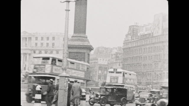 s b/w montage of buses, taxis and pedestrians in busy street scenes, london, england - 1937 stock videos & royalty-free footage