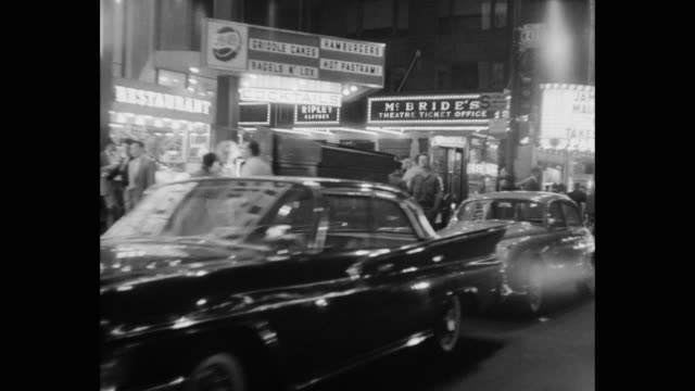 1960's car pov times square at night, new york city, new york state, usa - zebra crossing stock videos & royalty-free footage