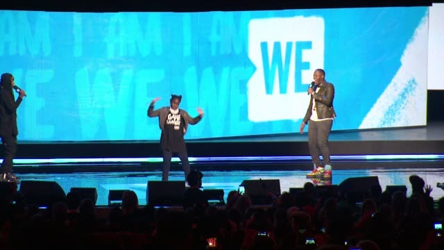s celebrity marauders at we day new york welcome to celebrate young people changing the world at radio city music hall on april 06, 2017 in new york... - radio city music hall stock-videos und b-roll-filmmaterial