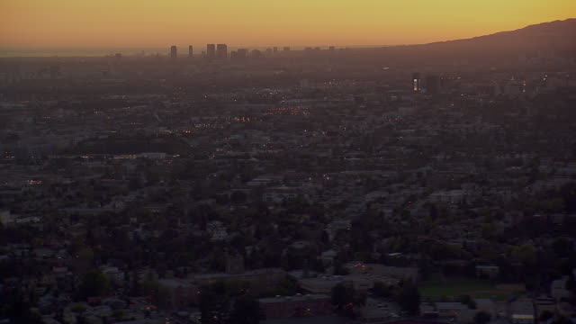 LA's Century City And Hollywood Hills At Sunset