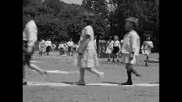 1930's children at school yard line up for class - 1935 stock videos and b-roll footage