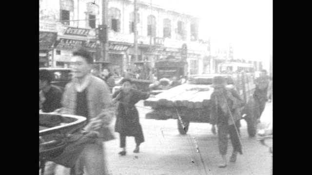 1930's chinese city - risciò video stock e b–roll