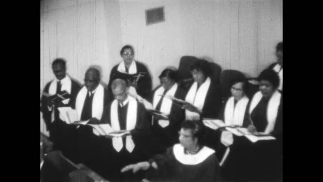1960's - choir singing at first baptist church north tulsa, tulsa, oklahoma, usa - church stock videos & royalty-free footage