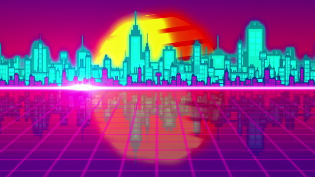 vj 80's city horizon - video jockey stock videos & royalty-free footage