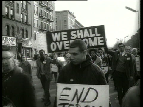 b/w 1960's civil rights march in city street / sound - equality stock videos & royalty-free footage
