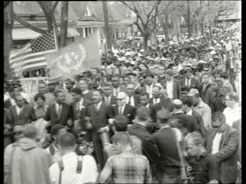 b/w 1960's civil rights march in montgomery alabama / sound - racism stock videos & royalty-free footage